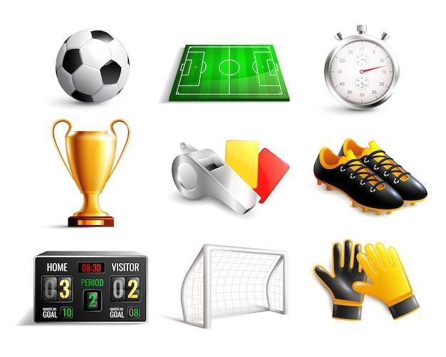 Conjunto de ícones 3d de futebol Vetor grátis