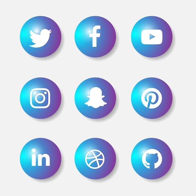 Conjunto de ícones 3d de mídias sociais Vetor Premium