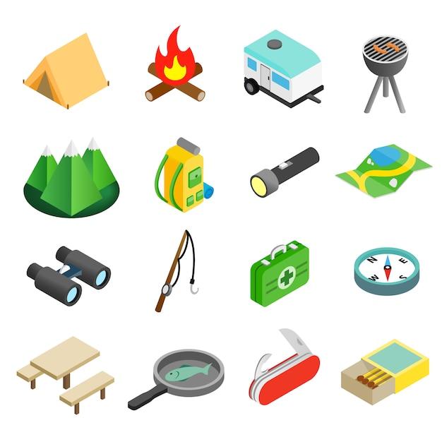 Conjunto de ícones 3d isométrica de acampamento Vetor Premium