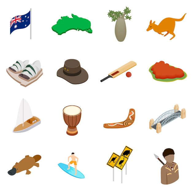 Conjunto de ícones 3d isométrica de austrália Vetor Premium