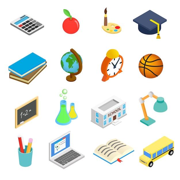 Conjunto de ícones 3d isométrica de educação Vetor Premium