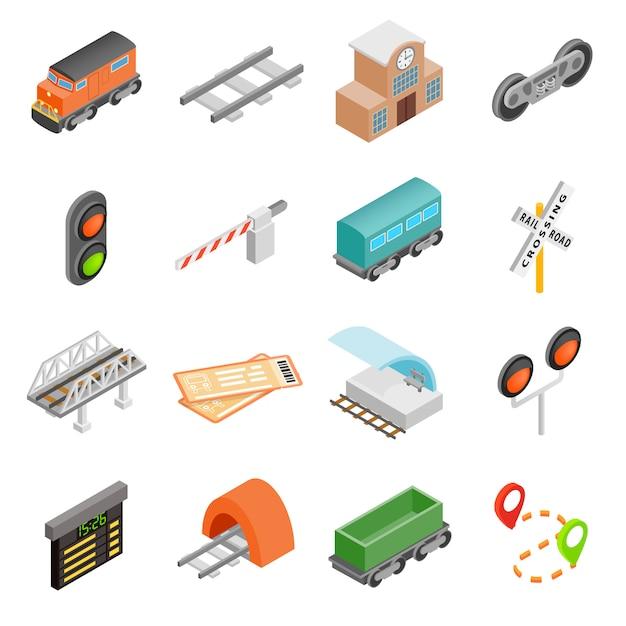 Conjunto de ícones 3d isométrica de ferrovia Vetor Premium