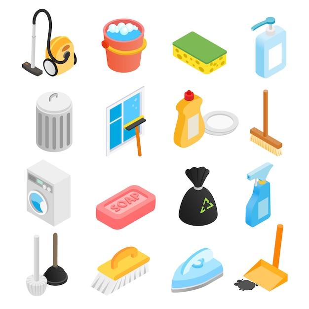 Conjunto de ícones 3d isométrica de limpeza Vetor Premium