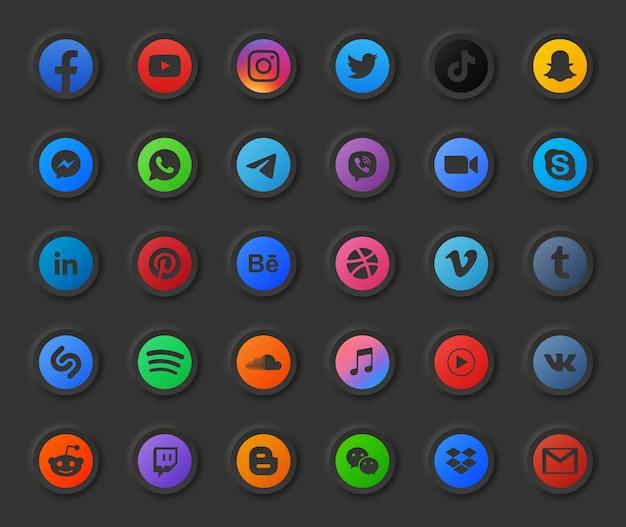 Conjunto de ícones 3d redondos modernos do modo escuro de mídia social popular. vídeo, foto, música, áudio, podcast, fluxo de vídeo online, hospedagem de arquivos, negócios digitais, design, portfólio, conta, logotipo do aplicativo de bate-papo Vetor Premium