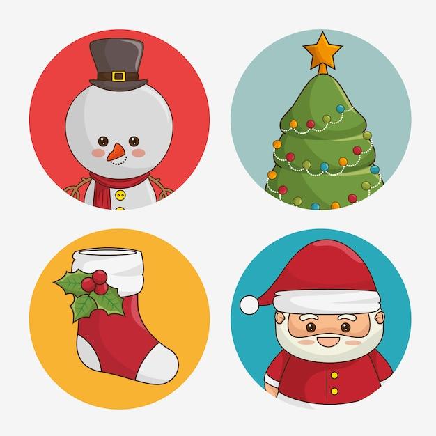 Conjunto de ícones arredondados de natal Vetor grátis