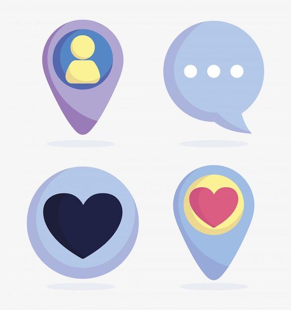 Conjunto de ícones avatar bate-papo mensagem ponteiro de discurso mídias sociais Vetor Premium
