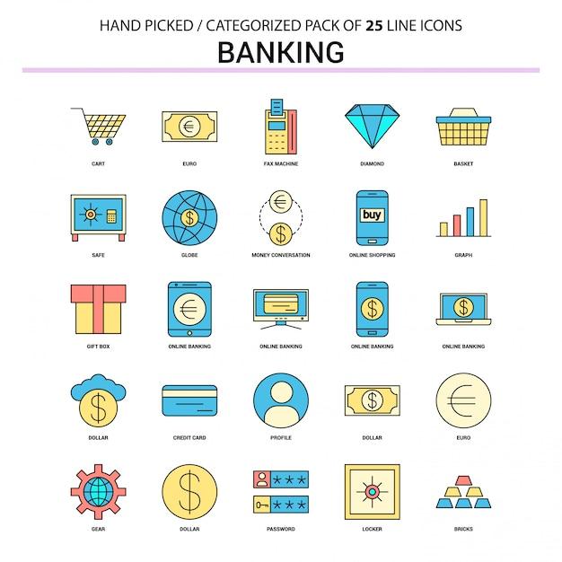 Conjunto de ícones bancários linha plana Vetor Premium