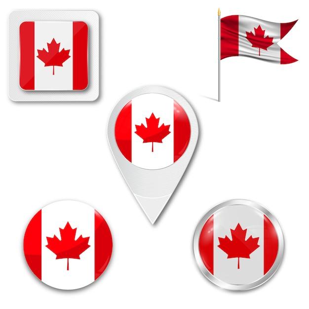 Conjunto de ícones bandeira nacional do canadá Vetor Premium