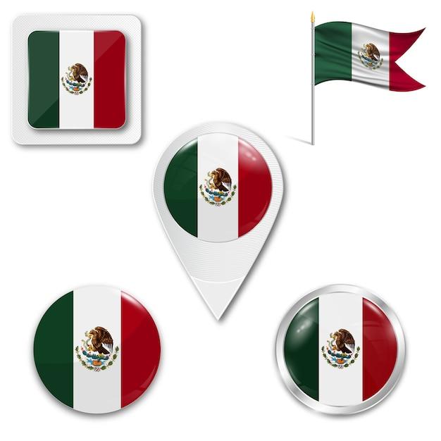 Conjunto de ícones bandeira nacional do méxico Vetor Premium