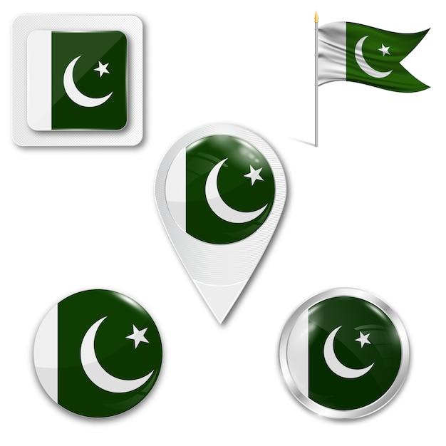Conjunto de ícones bandeira nacional do paquistão Vetor Premium
