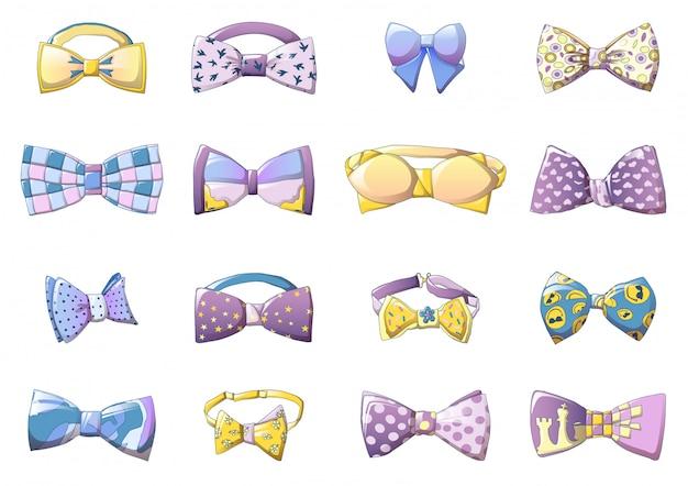 Conjunto de ícones bowtie, estilo cartoon Vetor Premium
