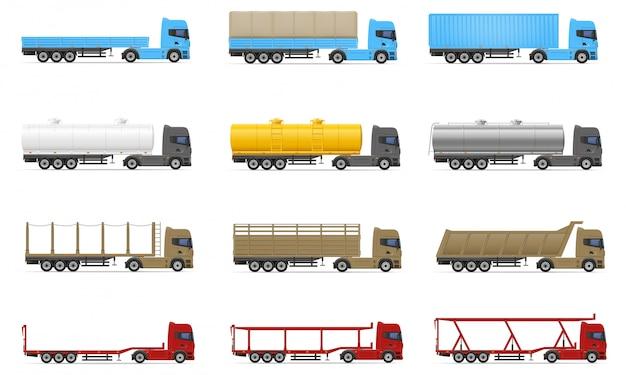 Conjunto de ícones caminhões semi reboque ilustração vetorial Vetor Premium