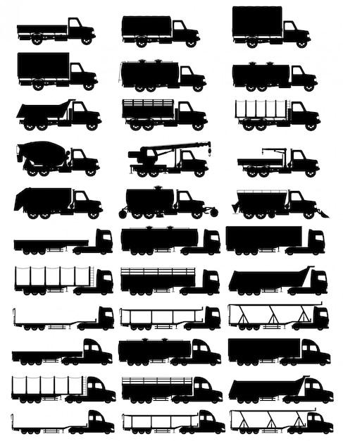 Conjunto de ícones caminhões semi reboque preto silhueta vector illustration Vetor Premium