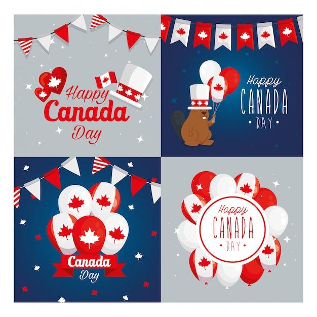 Conjunto de ícones canadenses quadros, feliz dia do canadá feriado e ilustração do tema nacional Vetor Premium