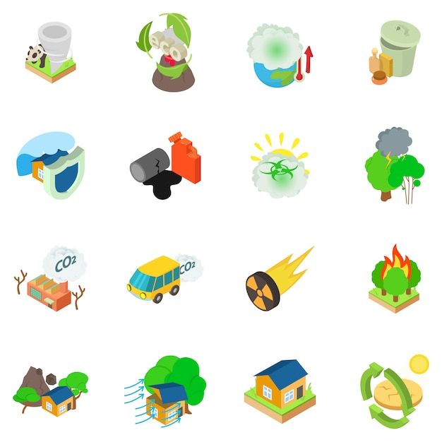 Conjunto de ícones catastrófico ecológico Vetor Premium