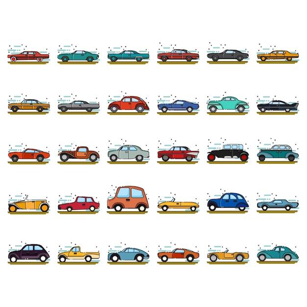 Conjunto de ícones clássicos de carros Vetor Premium