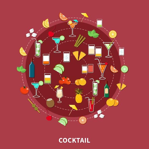Conjunto de ícones cocktail Vetor grátis