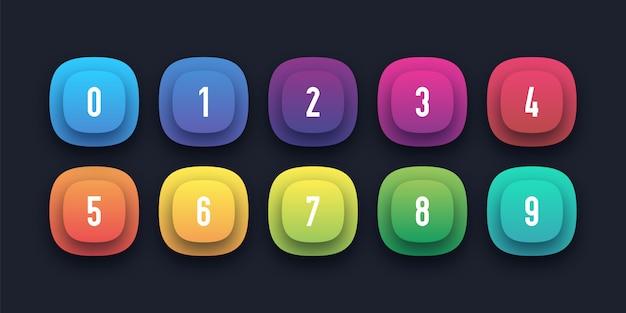 Conjunto de ícones coloridos com número de ponto de bala de 1 a 10 Vetor Premium