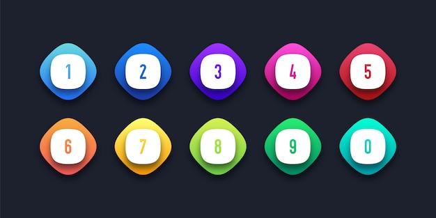 Conjunto de ícones coloridos com número de ponto de bala Vetor Premium