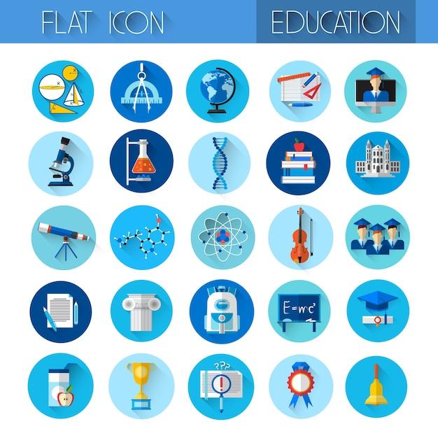 Conjunto de ícones coloridos de coleção de educação Vetor Premium