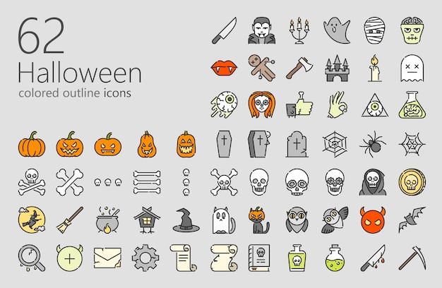 Conjunto de ícones coloridos de halloween Vetor Premium