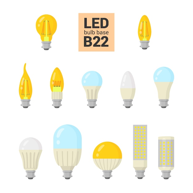 Conjunto de ícones coloridos de lâmpadas led Vetor Premium