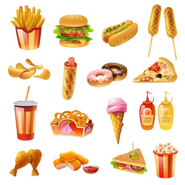 Conjunto de ícones coloridos de menu de fast-food Vetor grátis