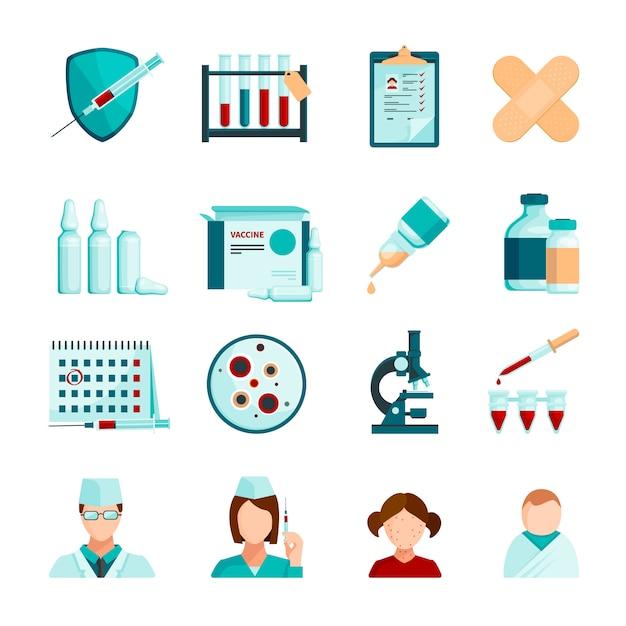 Conjunto de ícones coloridos de vacinação de tubos de tubos e frascos de pacientes jovens de equipes médicas Vetor grátis