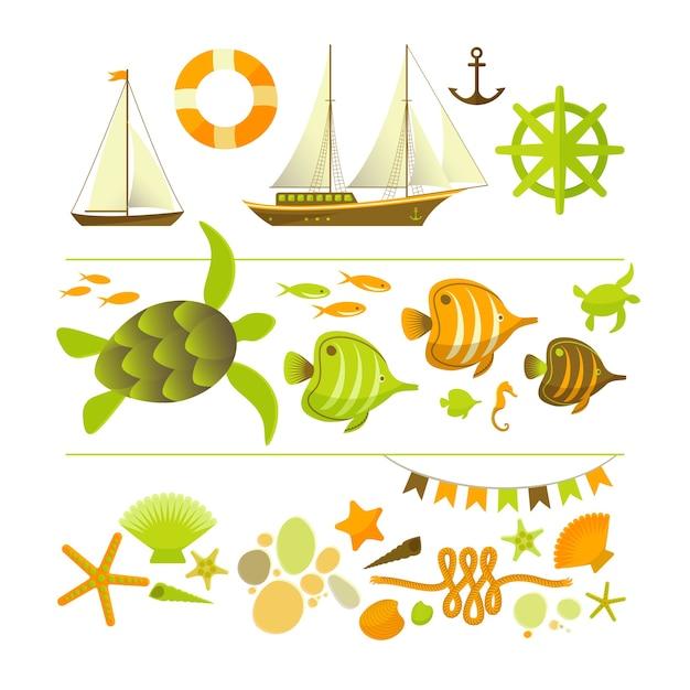 Conjunto de ícones coloridos de verão Vetor grátis
