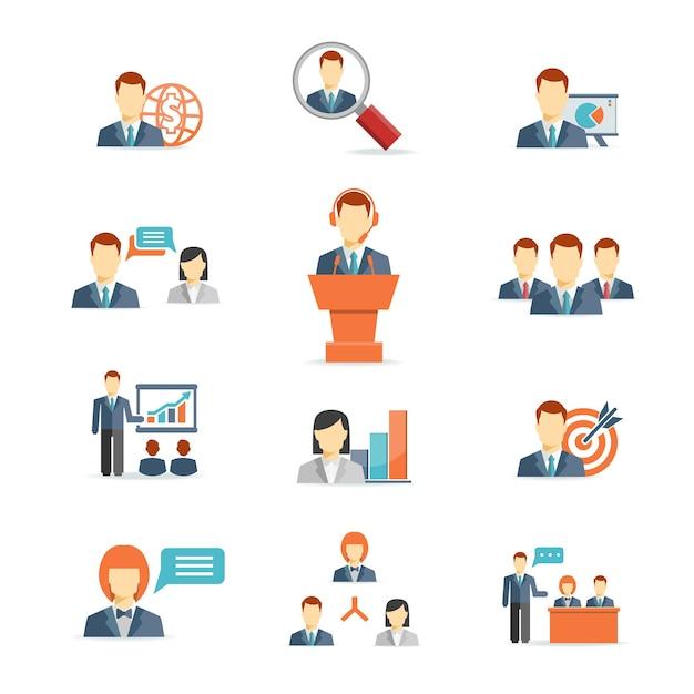 Conjunto de ícones coloridos de vetor de empresários mostrando o objetivo do treinamento, apresentação, reuniões on-line globais, discussão, trabalho em equipe, análise e gráficos isolados no branco Vetor grátis
