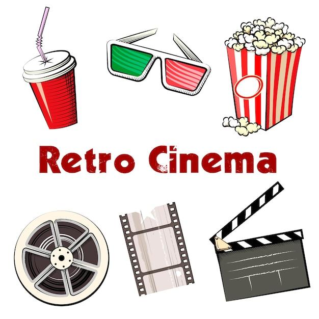 Conjunto de ícones coloridos do retro cinema com um refrigerante em uma caneca para viagem óculos 3d bobina de pipoca de filme de 35 mm e claquete Vetor grátis