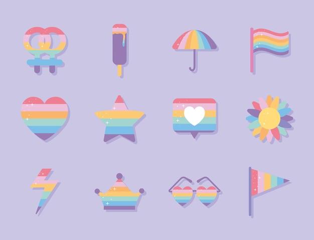 Conjunto de ícones com as cores do orgulho lgbtq em um fundo roxo Vetor Premium
