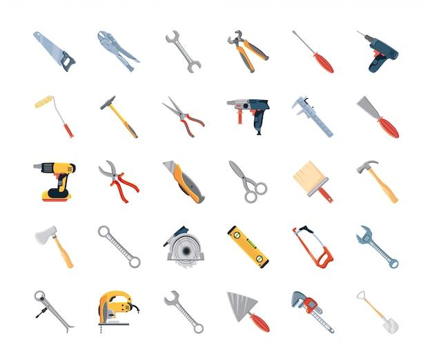 Conjunto de ícones com ferramentas de construção e carpintaria Vetor Premium