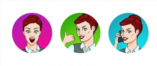 Conjunto de ícones com jovem sorrindo, surpreso, polegar para cima, falando pelo telefone. Vetor Premium