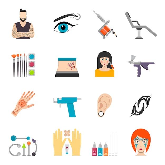 Conjunto de ícones com piercing de tatuagem bodyart e equipamentos especiais Vetor Premium