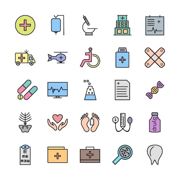 Conjunto de ícones com tema médico Vetor Premium