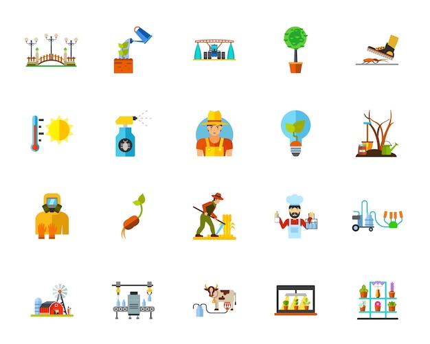 Conjunto de ícones da agricultura Vetor grátis