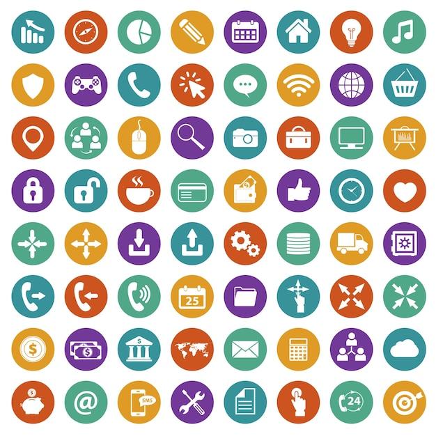 Conjunto de ícones da aplicação. Plano Vetor grátis