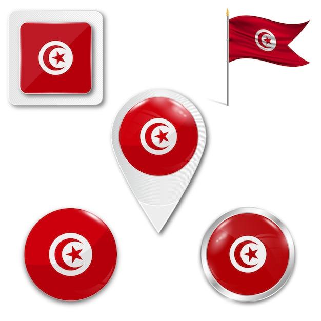Conjunto de ícones da bandeira nacional da tunísia Vetor Premium