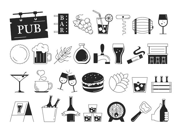 Conjunto de ícones da barra. coleção de símbolo de álcool Vetor Premium