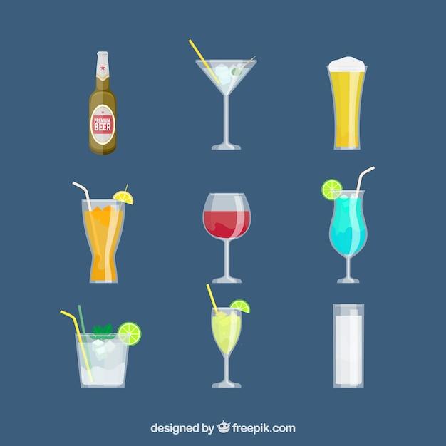 Conjunto de ícones da bebida em design plano Vetor grátis