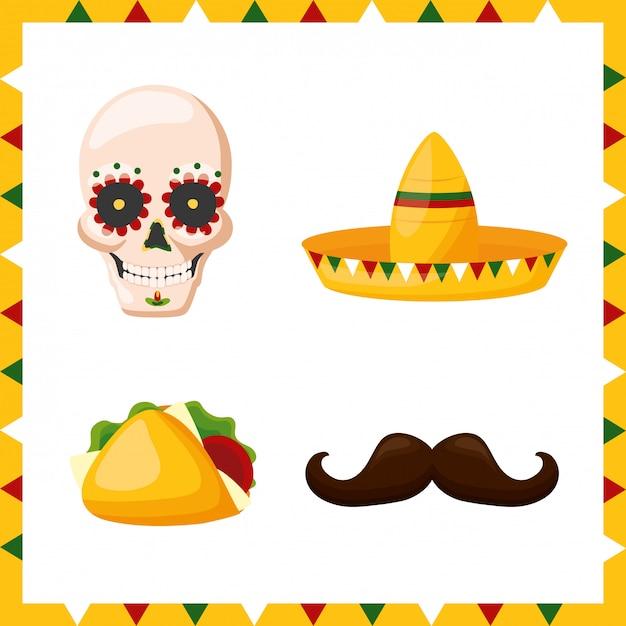 Conjunto de ícones da cultura do méxico, ilustração Vetor grátis