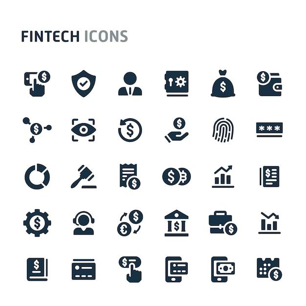 Conjunto de ícones da fintech. série de ícone preto fillio. Vetor Premium