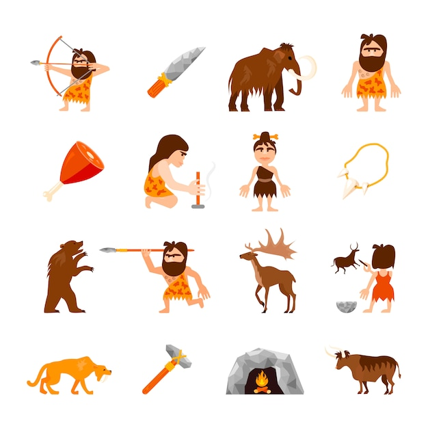 Conjunto de ícones da idade da pedra de carne de armas de fogueira de animais do homem das cavernas e charme isolado ilustração vetorial Vetor grátis