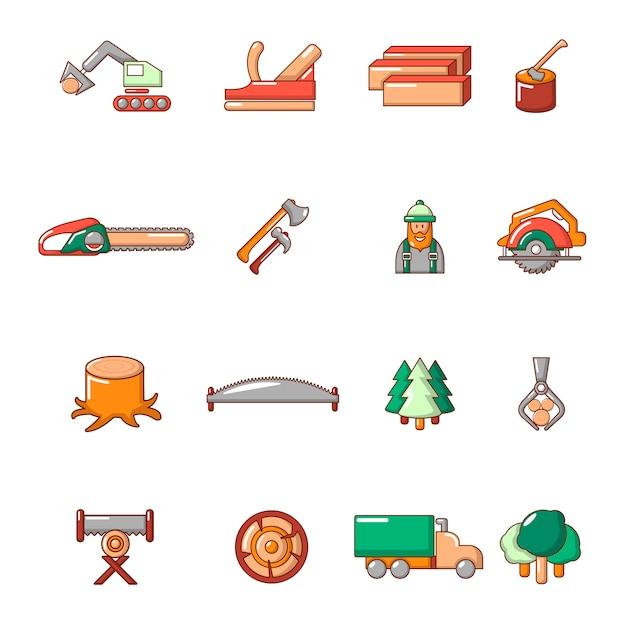Conjunto de ícones da indústria de madeira Vetor Premium