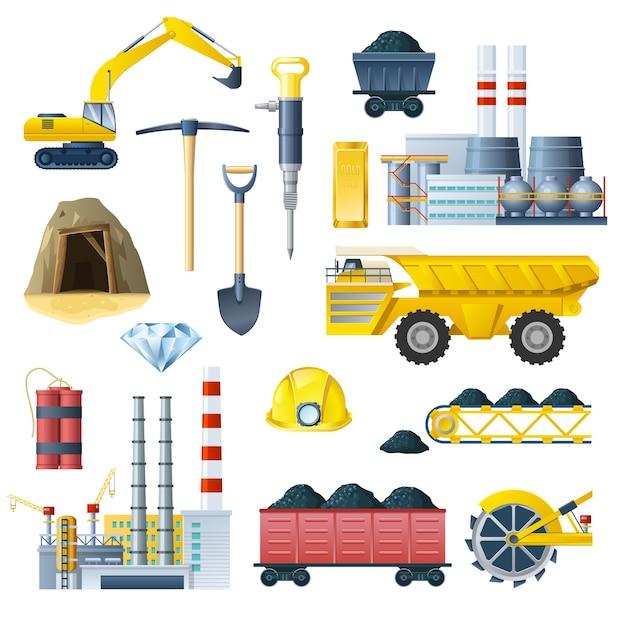 Conjunto de ícones da indústria de mineração Vetor grátis