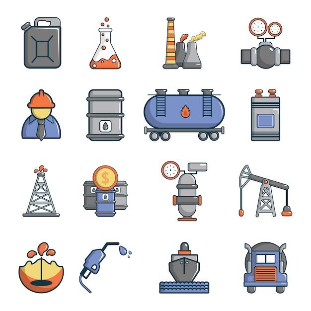 Conjunto de ícones da indústria de petróleo Vetor Premium