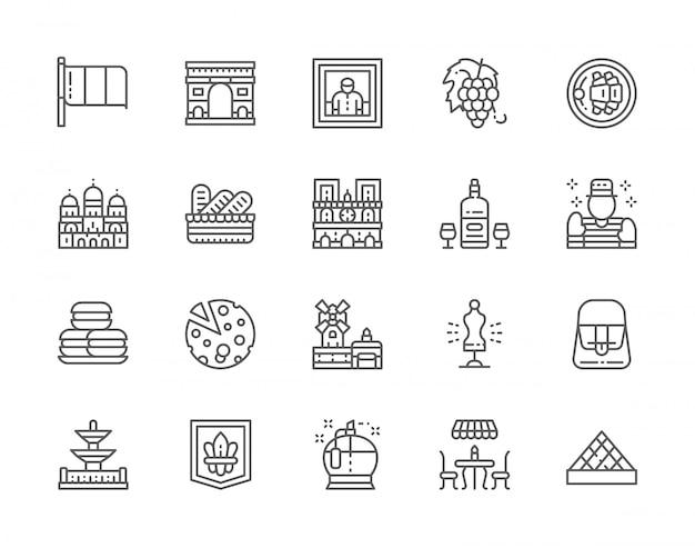 Conjunto de ícones da linha de cultura francesa. perfumaria, café de rua, álcool, mímica, macarrão, queijo, manequim de costura e muito mais. Vetor Premium