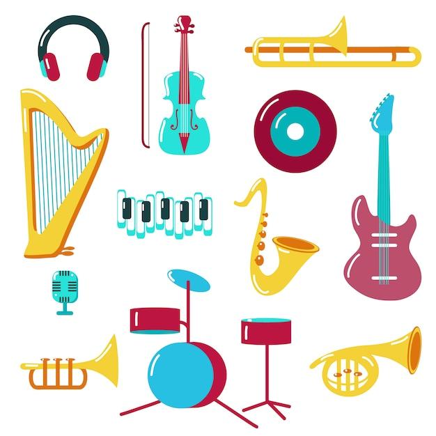 Conjunto de ícones da música estilo simples Vetor Premium