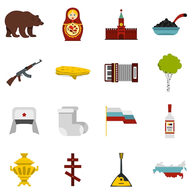 Conjunto de ícones da rússia Vetor Premium